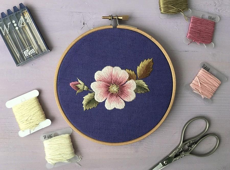 Вышивка цветов гладью для начинающих